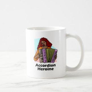 Heroína del acordeón taza básica blanca