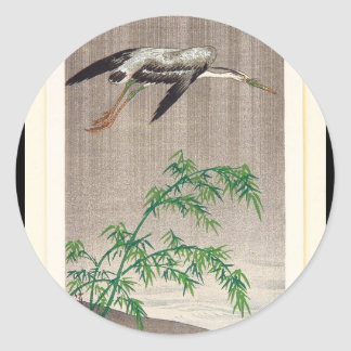 Heron and Bamboo by Seitei Watanabe 1851- 1918 Classic Round Sticker