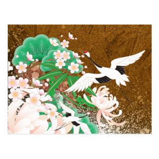Heron and Dahlia - Japanese Design Postcard