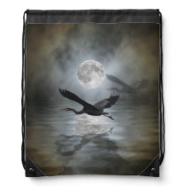 Heron and Full Moon Fantasy Design Drawstring Backpack