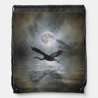 Heron and Full Moon Fantasy Design Drawstring Bags