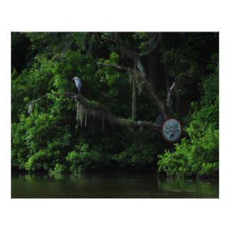 Heron  and Lazy River Poster Print