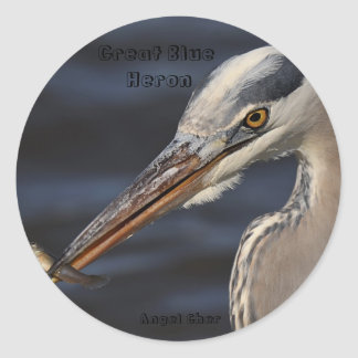 Heron And Minnow By Angel Cher, Great Blue Hero... Classic Round Sticker