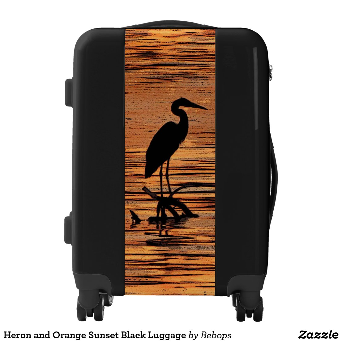 Heron and Orange Sunset Black Luggage