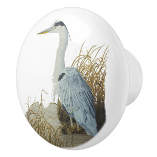 Heron At Marsh Edge Ceramic Knob