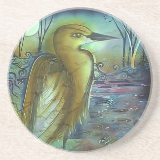 Heron at Night Lovely Artwork Drink Coasters