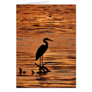 Heron at Sunset Birthday Card