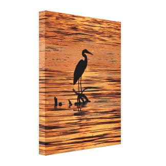 Heron at Sunset Canvas Print