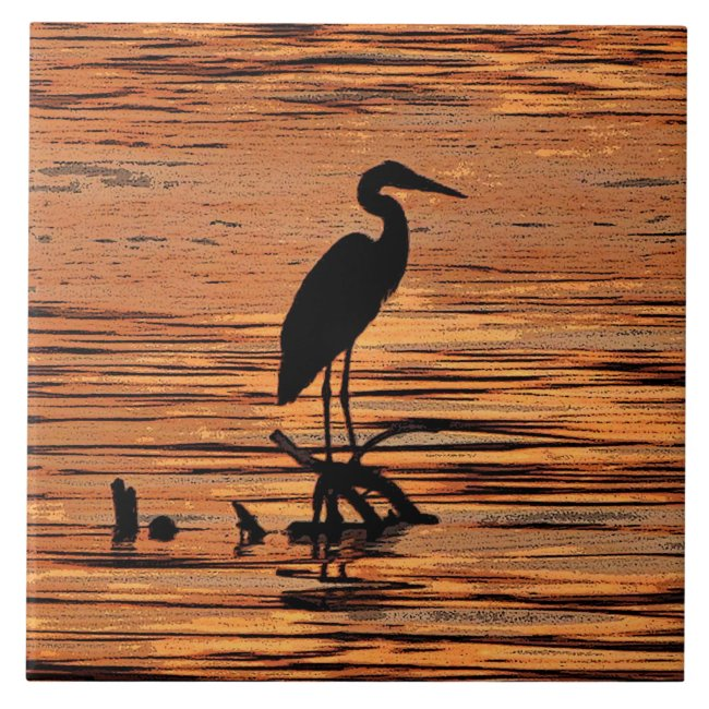 Heron at Sunset Ceramic Tile