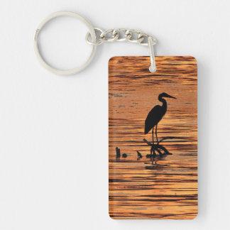 Heron at Sunset Double-Sided Rectangular Acrylic Keychain