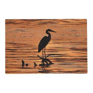 Heron at Sunset Laminated Placemat