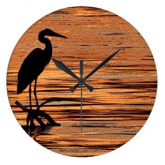 Heron at Sunset Large Clock