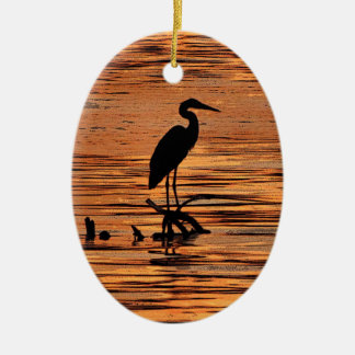 Heron at Sunset Double-Sided Oval Ceramic Christmas Ornament
