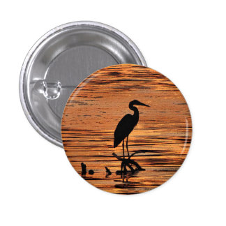 Heron at Sunset Pinback Button