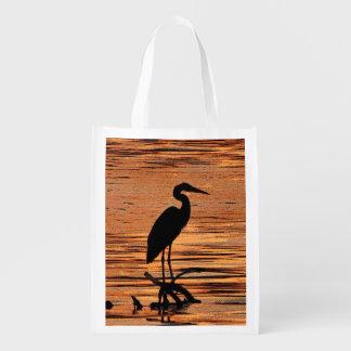 Heron at Sunset Reusable Bag Reusable Grocery Bag