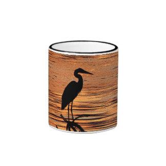 Heron at Sunset Ringer Coffee Mug
