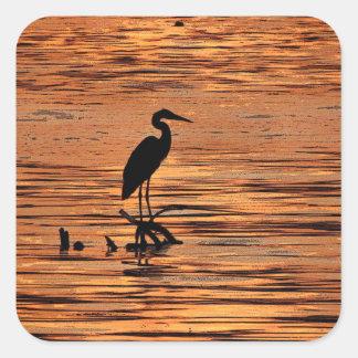 Heron at Sunset Square Sticker
