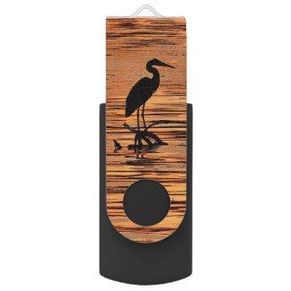 Heron at Sunset Swivel USB 2.0 Flash Drive
