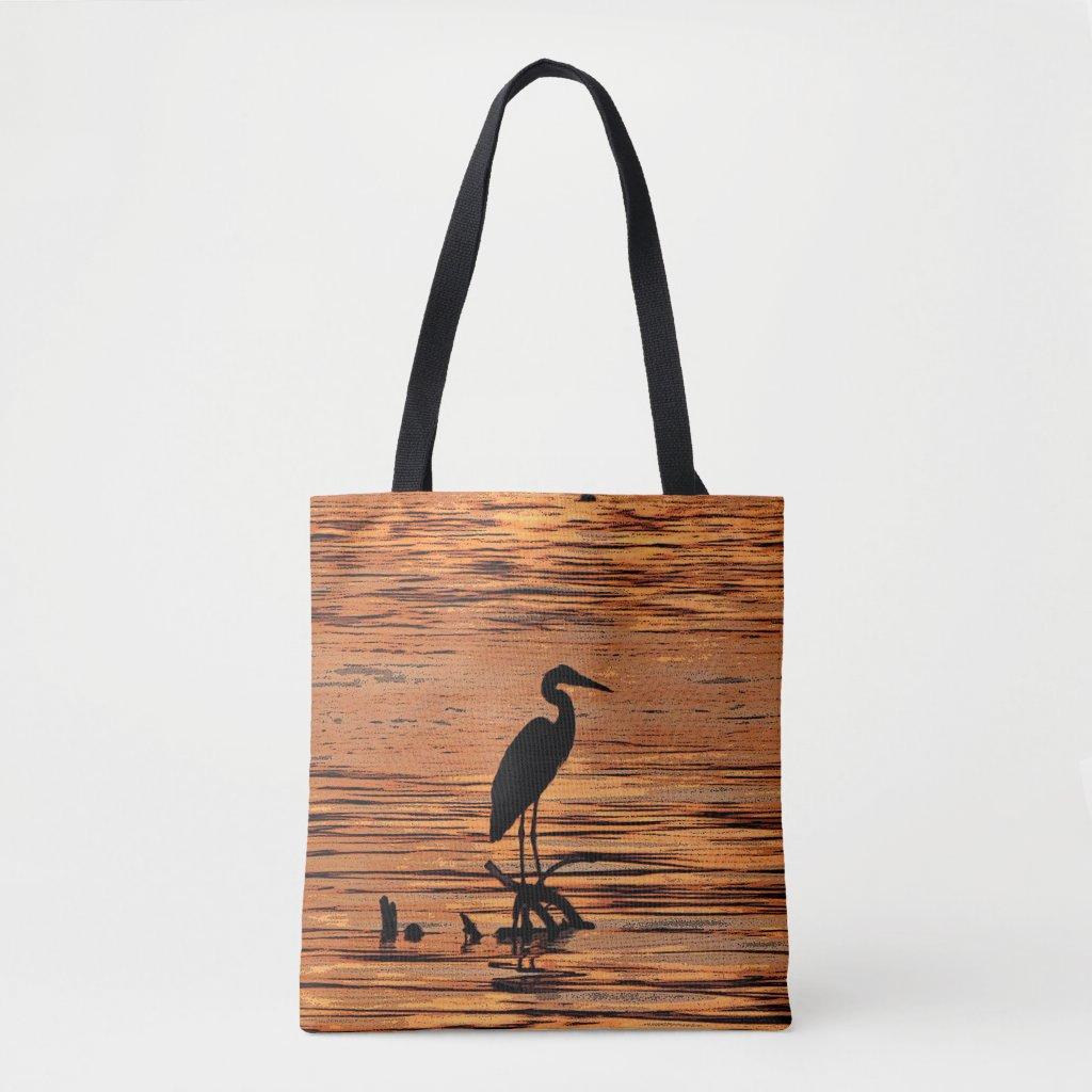 Heron Bird at Sunset Animal Tote Bag