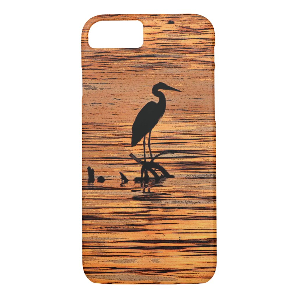 Heron Bird at Sunset Black Orange iPhone 7 Case