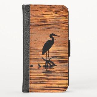 Heron Bird at Sunset iPhone X Wallet Case
