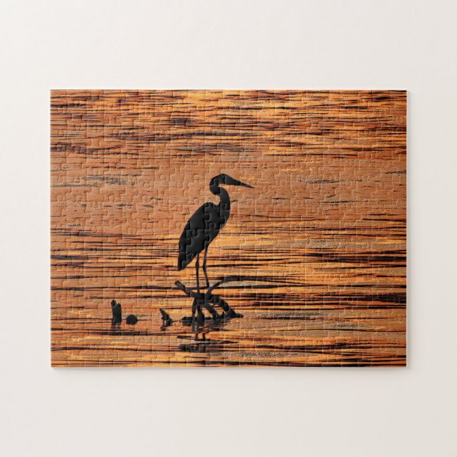 Heron Bird at Sunset Scenic Nature Puzzle