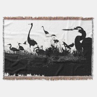 Heron Bird Collage Throw Blanket