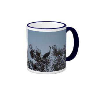 Heron bird in a tree ringer mug