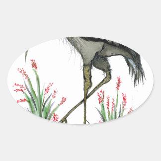 Heron bird, tony fernandes oval sticker