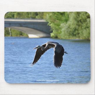 Heron, Bridge & River Photography Mousemat Mouse Pads