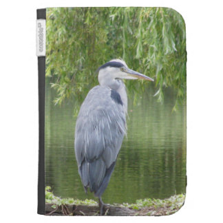Heron by a lake kindle folio case