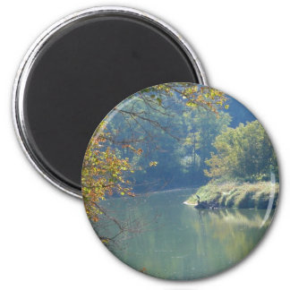 Heron by the River 2 Inch Round Magnet