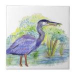 Heron Eats a Frog - Watercolor Pencil Ceramic Tile
