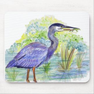 Heron Eats a Frog - Watercolor Pencil Mouse Pad
