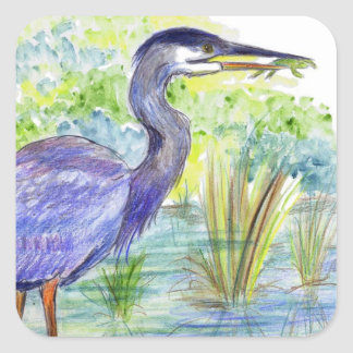 Heron Eats a Frog - Watercolor Pencil Square Sticker