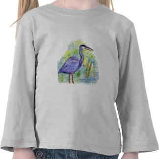 Heron Eats a Frog - Watercolor Pencil Tee Shirt