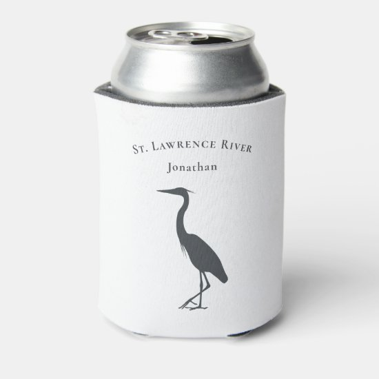 Heron Egret silhouette custom text and name Can Cooler