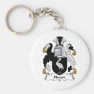 Heron Family Crest Basic Round Button Keychain