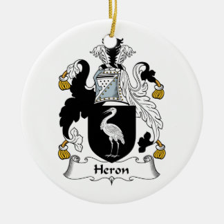 Heron Family Crest Double-Sided Ceramic Round Christmas Ornament