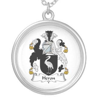Heron Family Crest Round Pendant Necklace
