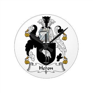 Heron Family Crest Round Wall Clocks
