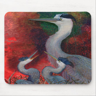 Heron Family Mouse Pads