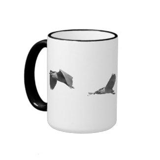 Heron flies around your Mug mug