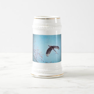 Heron Flying with Branch for Nest Beer Stein