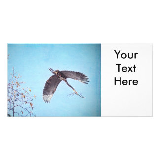 Heron Flying with Branch for Nest Photo Card Template