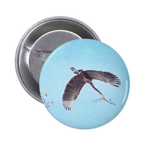 Heron Flying with Branch for Nest Pinback Buttons