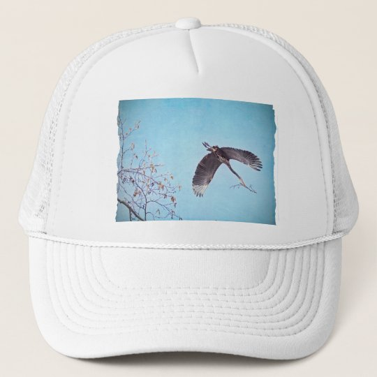 Heron Flying with Branch for Nest Trucker Hat