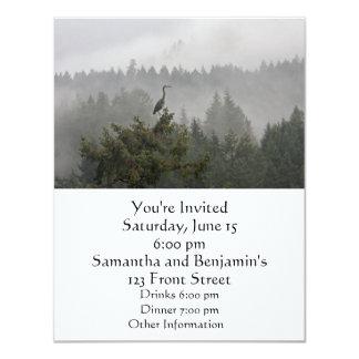 Heron in a Misty Mountain Landscape Card