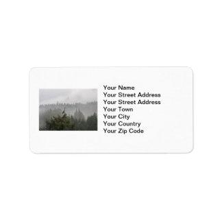 Heron in a Misty Mountain Landscape Label