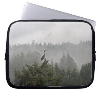 Heron in a Misty Mountain Landscape Laptop Sleeves